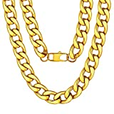 Chunky Gold Chain Mens Boys Stainless Steel Yellow Gold Plated Curb Cuban Link Necklace 15mm 22inches