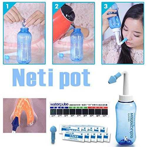 Neti Pot mit Salz, Sinusspülung, Neti Pot zum Spülen der Nase, 300 ml Neti Pot Sinusspülung mit 30 Nasenspülsalzpaketen und Thermometeraufkleber, Neti Pot Kit für Erwachsene und Kinder