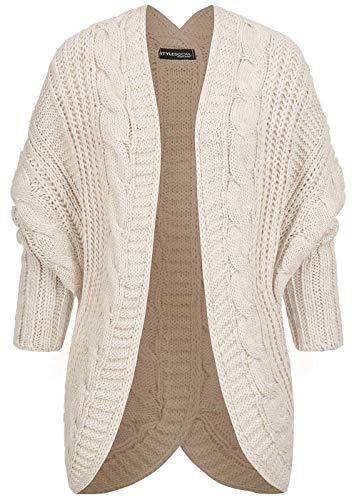 Styleboom Fashion® Damen Grobstrick Cardigan Rückenausschnitt beige