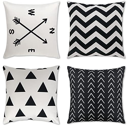 Fayavoo Throw Pillow Covers 18x18 Set of 4, Boho Pillow Covers Black and White Modern Decorative, Farmhouse Pillow Cases Linen Decor Cushion Outdoor Pillow Covers for Couch Bedroom Living Room Patio