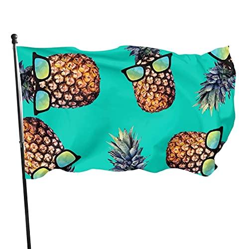Bandera de jardín Piñas con gafas Banderas de bienvenida verdes Decoración de temporada para el hogar al aire libre Desfile de Invierno Decorativo Patio Festival Banner 90 X 150 Cm