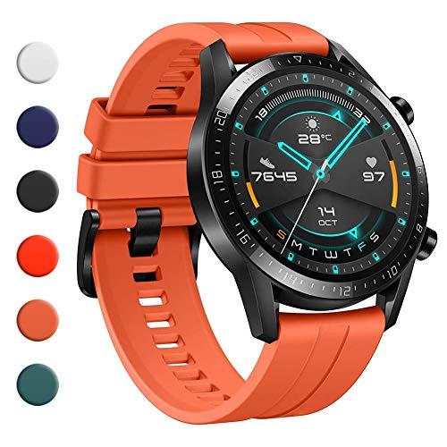 YHC Cinturino per Huawei Watch GT 2 / GT 2e 46mm,Compatibile con Huawei Watch GT/GT Active 46 mm (02-Arancia)