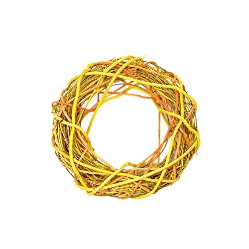 Couronne de porte en osier jaune orange 25 x 25 cm