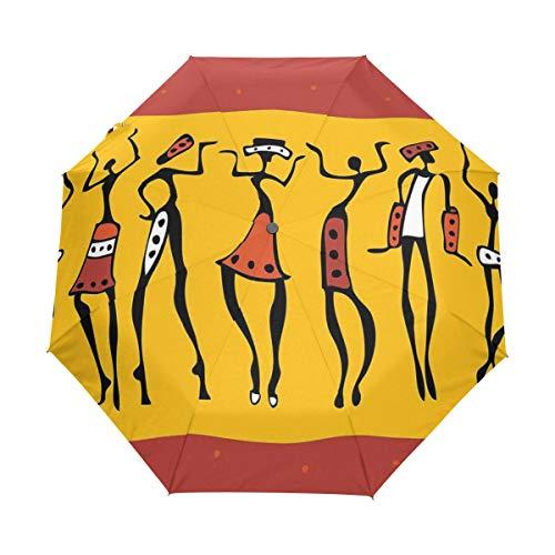 SUHETI Regenschirm Taschenschirm,Figuren der afrikanischen Tänzerinnen mit authentischem Ganzkörper bewegen fröhlichen Retro,Auf Zu Automatik,windsicher,stabil