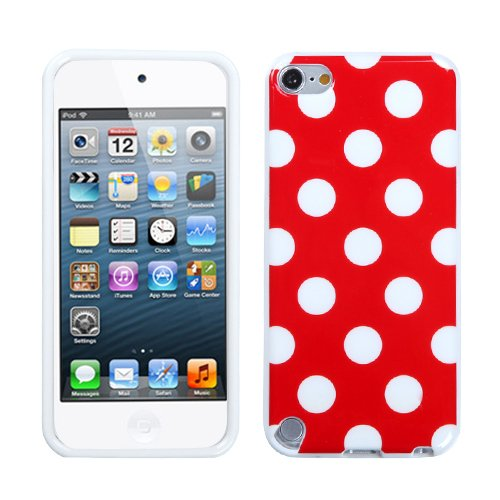 Fits Apple iPod Touch 5 (5th Generation) Soft Skin Case White Polka Dots/Red Candy Skin (does NOT fit iPod Touch 1st, 2nd, 3rd or 4th generations)
