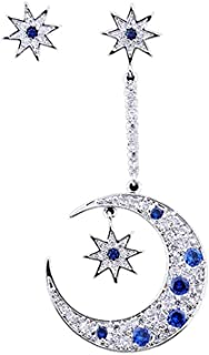MeniaMeow S925 Pure Silver Needle with Tiny Blue Zircon Rhinestone Asymmetric Stars and Moon Hook Earrings Stud
