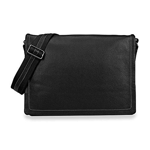 Levenger Bomber Jacket Laptop Leather Messenger - Black