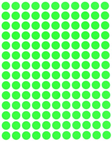 Royal Green Round Neon Color Code Labels 3/8 (0.375) inches 10mm Circle Dot Stickers - Green Fluorescent - Full Sheets 700 Pack