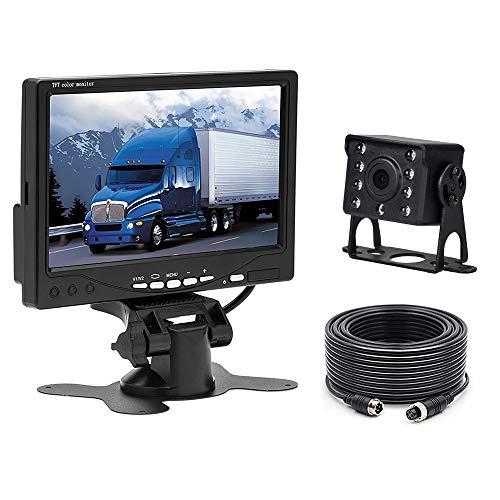 """Caméra de recul pour Voiture Camecho + Kit Moniteur LCD 7""""TFT 12V - 24V Kit de système de Parking pour caméra de Vision Nocturne étanche pour Bus/remorque/fourgonnette/Camion/Camping-Car"""