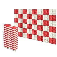 新しい48ピース 250 x 250 x 50 mm ピラミッド 吸音材 防音 吸音材質ポリウレタン SD1034 (パールホワイトと赤)