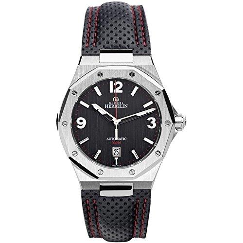 Michel Herbelin Unisex Erwachsene Analog Uhr mit Leder Armband 1631/24