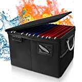 Fireproof Box with Lock, File Organizer with Handle and Zipper, Waterproof Fire Proof Collapsible Document Storage Filing Box for Hanging Letter, Legal Documents, Protect Important Documents - Black
