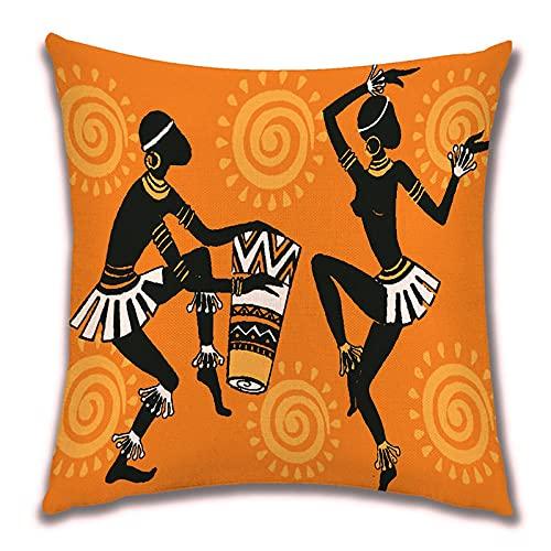 Funda de Cojín Ropa de Cama Cuadrado con la Cremallera Invisible Funda de Almohada del Sofá Decorativos para Cama Coche Hogar Mujer Negra Bailando Sin Relleno 45x45cm