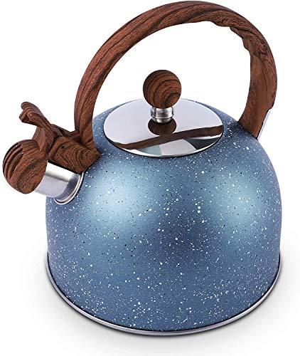OMAORST Flötenkessel Wasserkessel, 2,5 L Herdplatte Teekessel,Teekessel für alle Kochplatten, Flötenkessel mit Holzgriff,Wasserkocher Geeignet Für Induktionsherd, Gasherd, Elektrokeramikofen (Blau)
