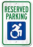 """Handicap Parking Reserved Sign, Large 12"""" x 18"""" 3M Reflective (EGP) Aluminum, Easy Mounting, Rust-Free/Fade Resistance, Indoor/Outdoor, USA Made By MY SIGN CENTER"""