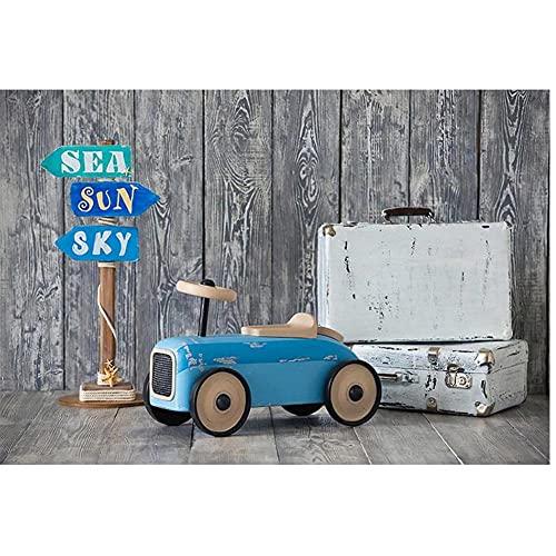 Baby Shower Sfondo Blu Auto Strada Segno Viaggio Valigia Neonato Fotografia Sfondo Fotostudio Vintage Plank Decor vinile 1,5 x 2,1 m
