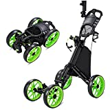 HSCCGI Golf Push Pull Cart with 4 Wheels, Foldable Collapsible Golf Push Cart with Umbrella Holder, One Step to Open and Close Pull Golf Carts for Golf Bag