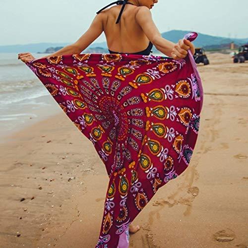 YXCKG Toallas Redondas de Playa de Borla de artesanía Mandala, Vestidos Playa Sexy Bohemian Floral Beach Cover Up, Sarongs de Playa para Mujer,Vacaciones de Verano Encubrir Bufanda Protector Solar