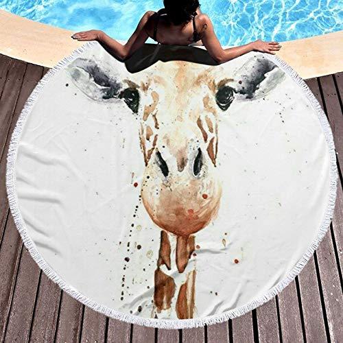 RCY-T Clever Giraffe Printed Redondo Toalla de Playa Yoga Estera de Picnic Redondo Tablecloth Water Absorbent Terry Toalla with Tassels
