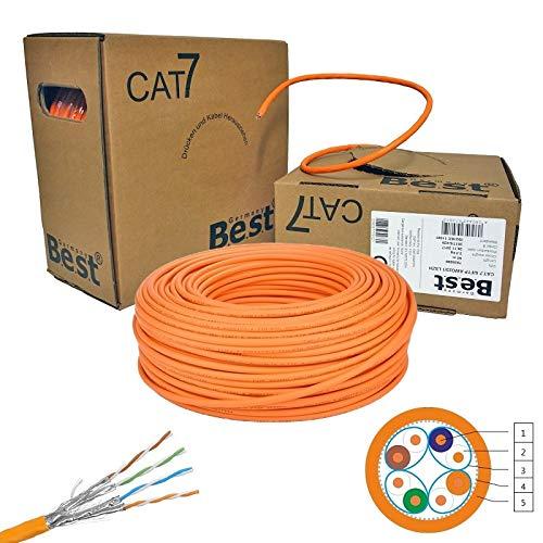 netshop 25 CAT.7 Verlegekabel Gigabit 10Gbit Netzwerkkabel 1000Mhz S/FTP CAT7 Installationskabel PIMF Kabel Netzwerk Verkabelung LAN Datenkabel 4x2xAWG23/1 orange 10/100/1'000/10'000 MBit