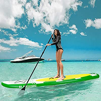 """MaxKare Inflatable Stand Up Paddle Board SUP W Paddle Board Inflatable Accessories Triple Action Pump Premium Backpack Paddle Leash Fishing Yoga 10.6'× 32"""" ×6'' Inches Thick Adult Youth Kid"""