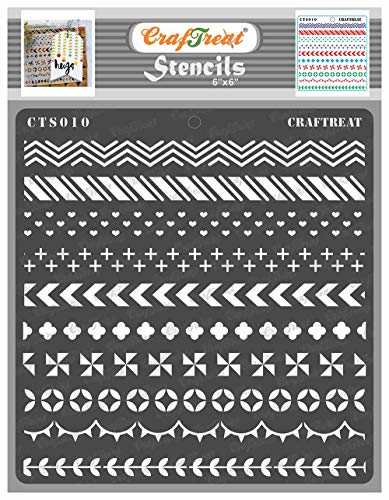 CrafTreat Border Stencils for Painting on Wood, Canvas, Paper, Fabric, Floor, Wall and Tile - Washi Tape - 6x6 Inches - Reusable DIY Art and Craft Stencils for Borders - Stencils Borders