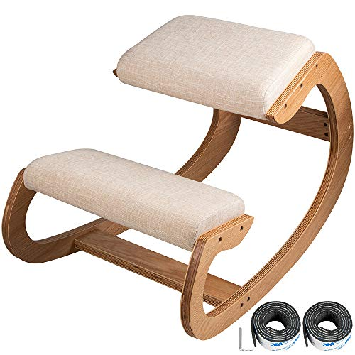 XWSQ Rocking Ergonomic Wooden Knee Stool for Office & Home,Rocking Kneeling Chairs Back & Neck Pain Relieving Rocking Desk Chair,Wood &Thick Linen Cushion