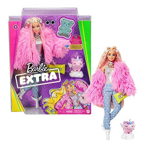 Barbie Extra poupée articulée blonde au look tendance et oversize, avec figurine animale et accessoires inclus, jouet pour enfant, GRN28