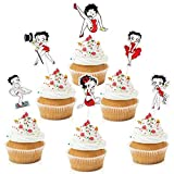 18pcs Betty Boop Girl's Party Cupcake Toppers - Classy Lady Party Glitter Sexy Betty Boop Cupcake Supplies - Queen Party Decoration
