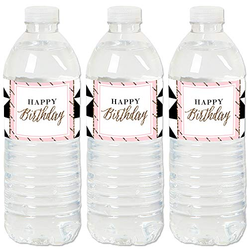 Chic Happy Birthday - Pink, Black and Gold - Birthday Party Water Bottle Sticker Labels - Set of 20