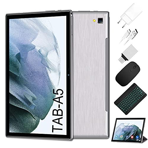Tablet 10 Pollici Android 10.0-4G LTE Tablet RAM 6GB   ROM 64GB, 128GB Espandibili   5G WIFI -8 core (Certificazione GOOGLE GMS), 6500mAh Batteria GPS— Mouse   Tastiera (Argento)
