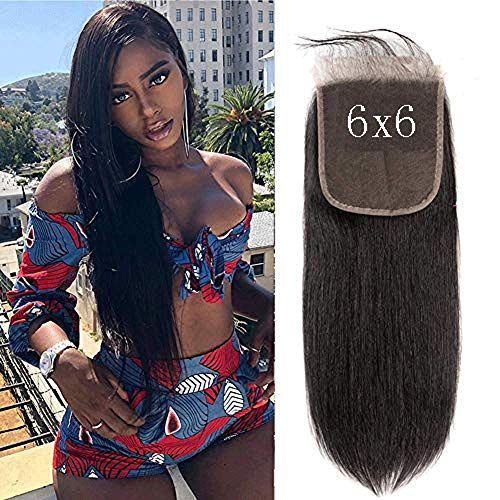 6x6 Lace Closure Straight Echthaar Perücke mit Baby Hair Brasilianische Remy Hair Unprocessed Free Part 130% Dichte Natural Hairline 9a Grade Natural Color 10 zoll