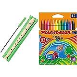 Hohner 9508 Flauta De Plástico + Bic Kids Plastidecor Ceras Para Colorear, Antimanchas Para Actividades Creativas En Casa Y El Colegio, Blíster De 12 Unidades, Colores Surtidos