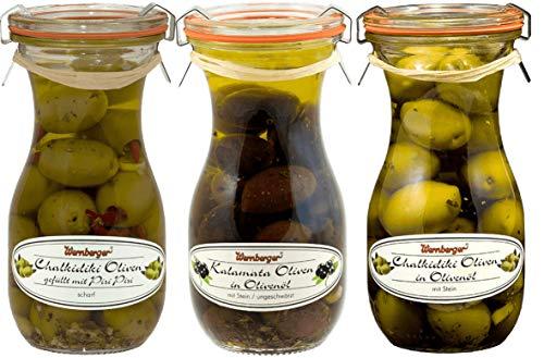 Oliven-Mix 3er Set in Olivenöl eingelegt 1x Kalamata Oliven, 1x Chalkidiki Oliven, 1x Chalkidiki Oliven gefüllt mit Chili