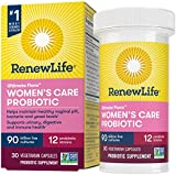 Renew Life Women's Probiotics 90 Billion CFU Guaranteed, 12 Strains, Shelf Stable, Gluten Dairy & Soy Free, 30 Capsules, Ultimate Flora Women's Care-60 Day Money Back Guarantee