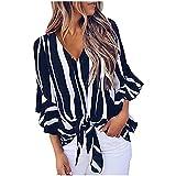 Camiseta de mujer vintage para verano, informal, cuello redondo, camiseta de manga corta, sexy, cuello en V, gasa, a rayas, anudada, camiseta para el tiempo libre
