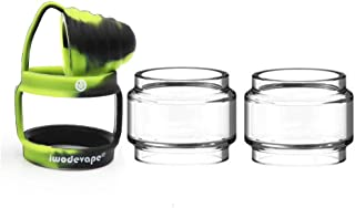 CENGLORY TFV12 Prince Bulb Glass Rings Silicone Anti Slip Band with Attached Drip Tip Cover Clear Tube (BlackGreen)