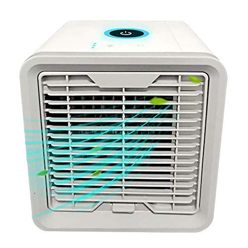 Kejing Miao Mini-ventilator, kleine desktop ventilator, 3 ventilatorsnelheden, geluidloos, 3-in-1, draagbaar, met luchtbevochtiger en luchtreiniging, kiepbescherming, kejing Miao