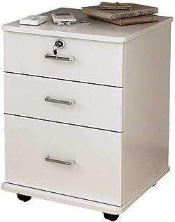 KANJJ-YU Dépôt tiroirs blanc à trois couches Tiroir avec roue Table armoire avec verrou antivol entièrement assemblé, fich...