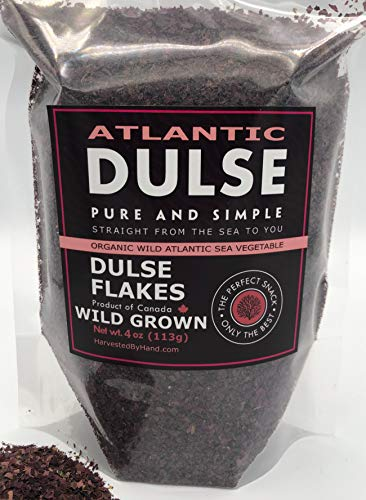 Atlantic Dulse Flakes 4 oz - Wild Harvested Canadian - Organic Dulse Seaweed - Dulse Pure and Simple - Iodine - Smoothie Soups - Sustainably Harvested by Hand