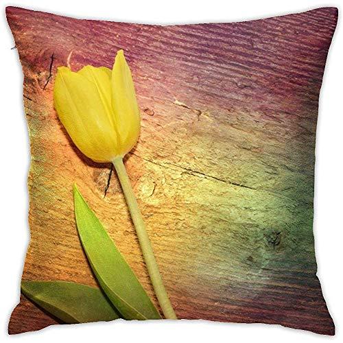 sherry-shop Tulipe, Housse de Coussin en Bois Diagramme Taie d'oreiller Coussin de Coussin carré 20X20 po