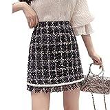 Skirts Quaste Plaid Tweed Frauen Hohe Taille Shorts Mini Vintage Herbst Winter Wolle Bleistift Plus Size Reißverschluss 2020 X520 Gr. 40, Schwarz