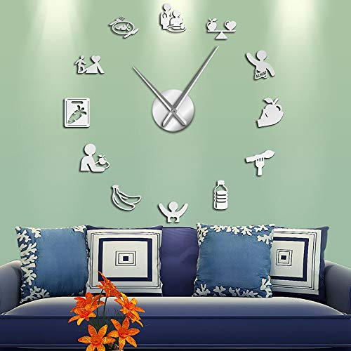 Nutrition Care Healthy Eating Nutricionista Arte de la Pared Pegatinas de Espejo DIY Relojes de Pared Grandes Cocina Comedor Reloj de Pared silencioso (Plata 、 47 Pulgadas)