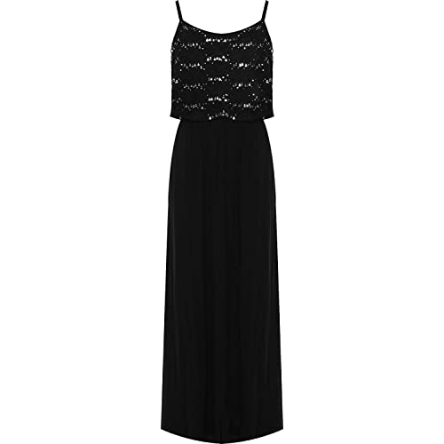 048acc0e87d New Womens Full Length Plus Size Sequin Strappy Layered Floral Lace Print Maxi  Dress 14-