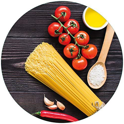 Wallario rundes Glasbild Italienisches Menü mit Spaghetti, Tomaten, Salz und Chilischoten - 50 cm Durchmesser in Premium-Qualität: Brillante Farben, freischwebende Optik