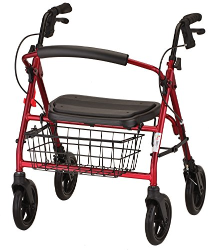 "NOVA Medical Products NOVA Mini Mack Bariatric Rollator Walker, 400 lb Weight Capacity, Heavy Duty with Extra Wide Seat, 19.5"" Seat Height, Red"