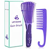 Detangling Hair Brush, Detangling brush for Adults and Kids, Comb Set for Kinky Curly Coily and Wavy Hair, For Wet and Dry Hair, Afro American Type 3a-4c, Comfortable Grip, Easy to Clean, Durable(Purple)