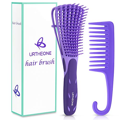 Detangling Hair Brush Detangling brush for Adults and Kids Comb Set for Kinky Curly Coily and Wavy Hair For Wet and Dry Hair Afro American Type 3a4c Comfortable Grip Easy to Clean DurablePurple