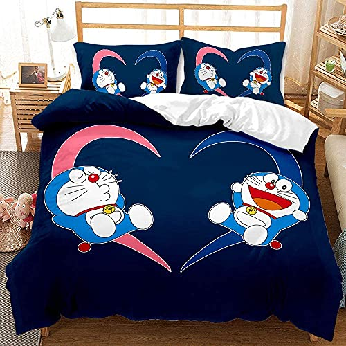 Aatensou Doraemon - Juego de ropa de cama suave y cómoda, con estampado 3D animado + funda de...
