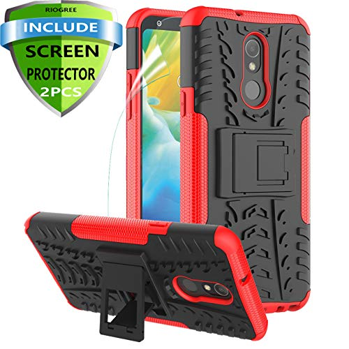 RioGree for LG Stylo 5 Case/Stylo 5 Plus + / Stylo 5X Phone Case with Screen Protector Kickstand for Men Women Boys Girls Durable Heavy Duty Shockproof Cover Skin TPU (Red)